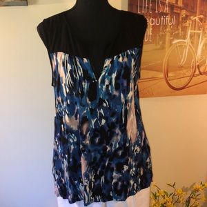 Blue/multi sleeveless Tunic